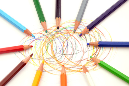 symbolic: The color game - symbolic and abstract image of color pencils