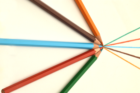 symbolic: The color game - symbolic image of color pencils Stock Photo