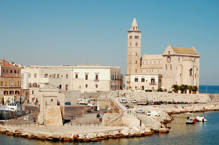 marine environment: Image of the port and the beautiful church of the town of Trani in Apulia
