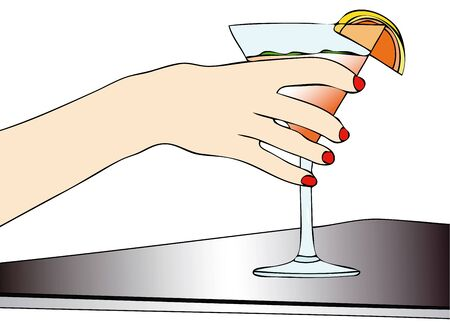 quench: Illustration depicting a woman sitting at a coffee table while drinking a cocktail