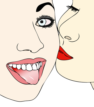lesbianism: A gesture of affection and irreverence between two girls Illustration