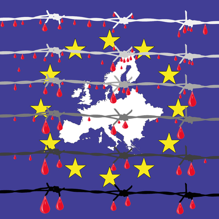 clandestine: The European ideals - Symbolic illustration depicting the new walls in Europe