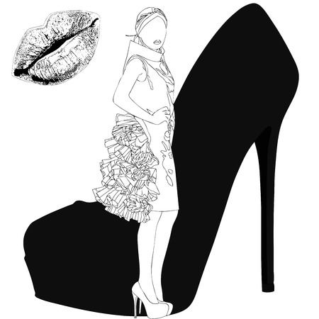 high fashion: Illustration depicting the project for a high fashion dress Stock Photo