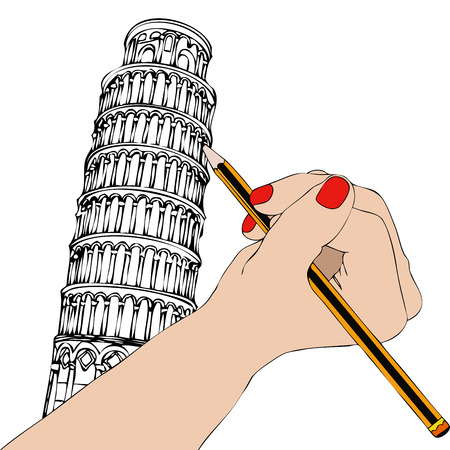 tower of pisa: Woman that draws the Tower of Pisa - Illustration representing a womans hand while drawing the Tower of Pisa