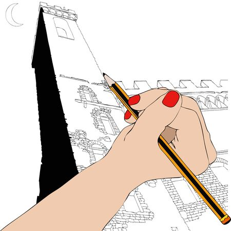 renaissance woman: Woman draws the Palazzo Vecchio in Florence - Illustration depicting the hand of a woman who drawing the Palazzo Vecchio in Florence