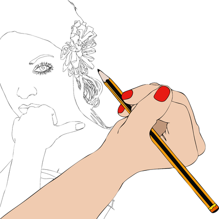 sweetness: Woman paints the portrait of a beautiful woman - Illustration depicting the hand of a woman who draws the portrait of a beautiful woman