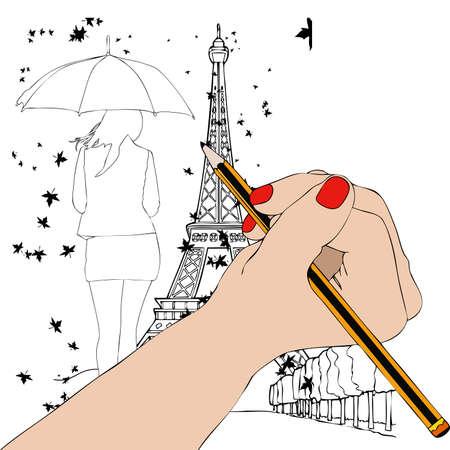 autumn woman: Paris in Autumn - Illustration depicting the hand of a woman while drawing a woman walking in the autumn in Paris