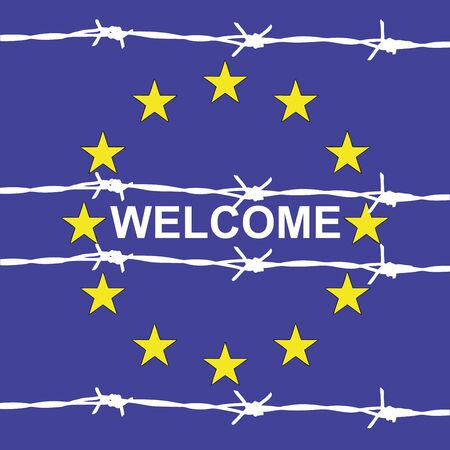lawlessness: Welcome to Europe - symbolic illustration representing the hospitality in Europe