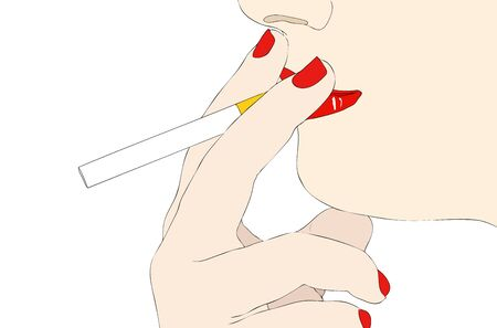 habit: A bad habit - Symbolic illustration depicting a woman with a cigarette in her mouth Stock Photo