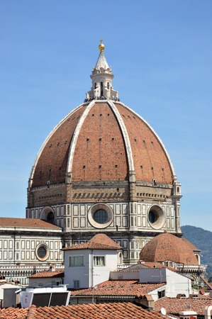 A view of the cathedral of Florence with its famous dome-Italy Stock Photo