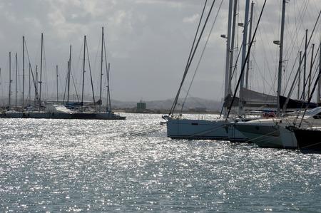 trapani: Backlit of Trapani marina in Sicily - Italy Stock Photo