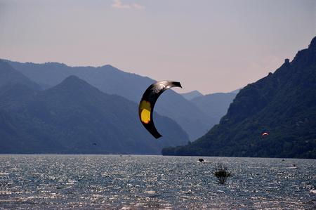 water skiing: Water skiing between the mountains of Lake Idro - Brescia - Italy