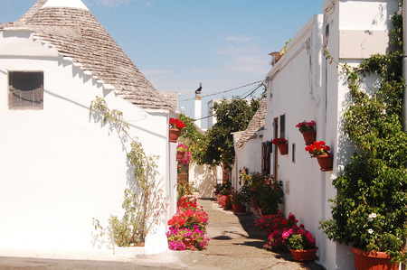 characteristic: A characteristic flowery corner of the city of Alberobello - Apulia - Italy Stock Photo