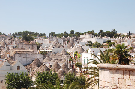 A view of the town of Alberobello with its famous Trulli in Apulia - Italy Stock Photo