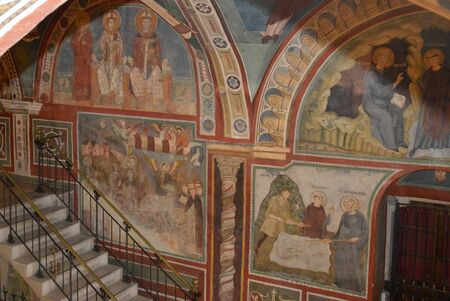 July 17, 2016-Benedictine Monastery of Subiaco in the Lazio-Italy-Architecture, church ornaments, paintings and frescoes that tell the life of St. Benedict in the crypt of a monastery Benedictine Redactioneel