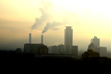 particulate: panoramic view of a polluted industrial city Stock Photo