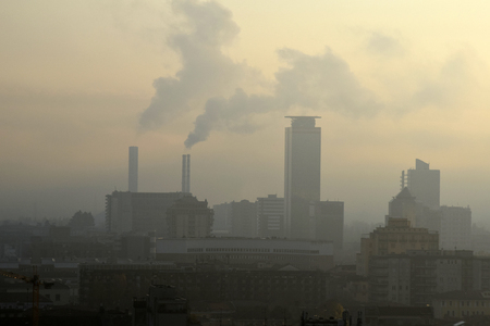 A panoramic view of a polluted industrial city
