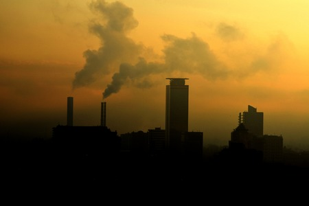 particulate: A panoramic view of a polluted industrial city