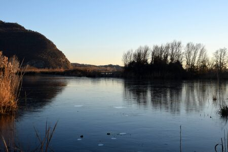 The rare phenomenon of the frozen bogs of Lake Iseo - Brescia - Lombardy - Italy