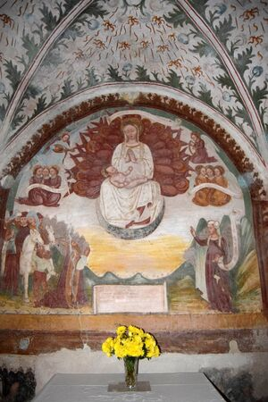 The wonderful frescoes abandoned within the church of Zone  on Lake Iseo