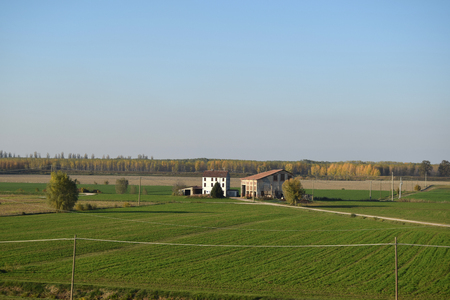 An agricultural farm along the banks of the Po river in the Po Valley - Mantua - Lombardy - Italy