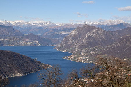 Spectacular view of Monte Isola and Lake Iseo with in the background the Orobiche Alps - Brescia - Lombardy