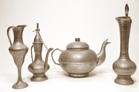 Ancient Arabic-Asian objects of a tea service 02 Stock Photo