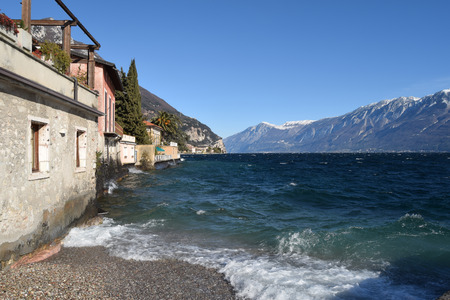 A panoramic view of Lake Garda on a stormy day - Brescia - Lombardy - Italy