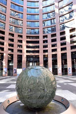 March 27, 2017-Strasbourg-Alsace-France-The European Parliament in Strasbourg opens its doors to European schoolchildren by allowing visitors to visit the interior and its architectural structure Editorial