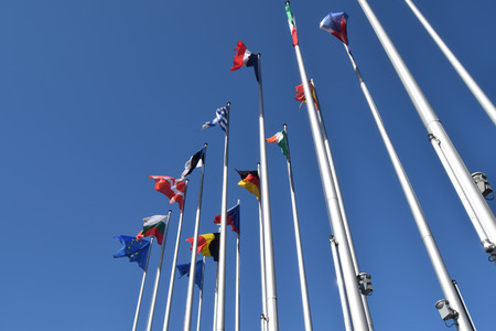 The flags of the EU states wave as a symbol of the union 02