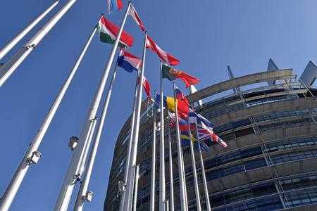 The flags of the EU states wave as a symbol of the union