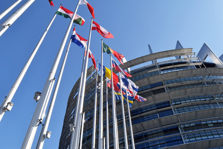 The flags of the EU states wave as a symbol of the union 05