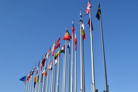 The flags of the EU states wave as a symbol of the union 06 Stock Photo