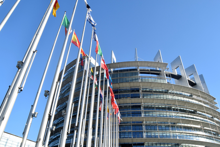 The flags of the EU states wave as a symbol of the union 08 Stock Photo