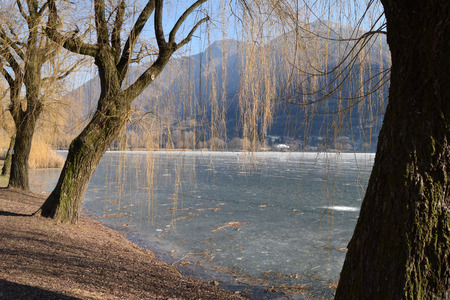 An entire lake completely frozen - Lake Endine - Bergamo - Lombardy - Italy Stock Photo