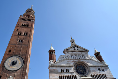 View of the facade of the majestic Cathedral of Cremona - Cremona - Lombardy - Italy Stock Photo