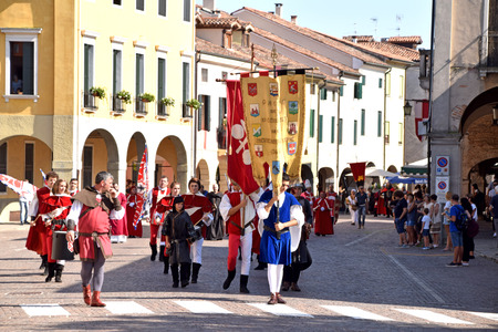 09 September 2018-Montagnana-Veneto-Italy-The historical parade in medieval costume on the streets of the historical streets of Montagnana with the final performance of the Palio di Montagnana