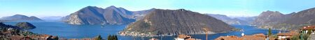 Panoramic image of Lake Iseo and the town of Peschiaera in Montisola in the province of Brescia - Lombardy - Italy