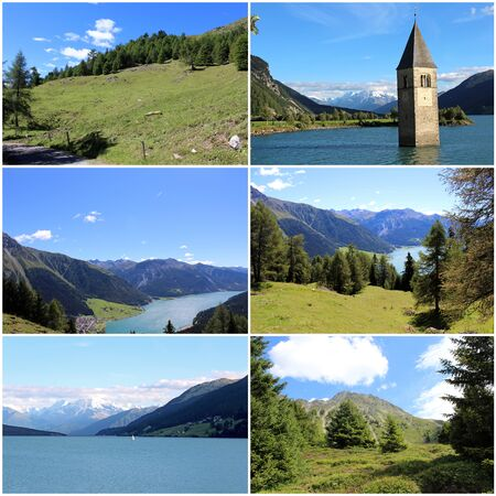 The lake and the mountains, the environment and nature, the jewels of the Resia Valley in the Friulian Alps in Italy Archivio Fotografico