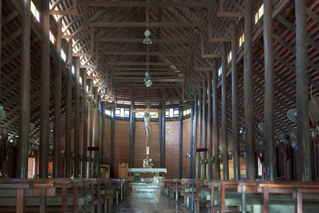 naturalized: Biggest catholic wood church in Thailand, Yasothorn province, Thialand Editorial