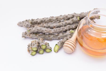gado: heart leaf moonseed  herb for healthy, Tinospora cordifolia (Willd)., Menispermaceae Stock Photo