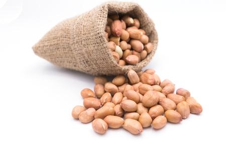 gunny bag: Peanut in Gunny Bag on white background