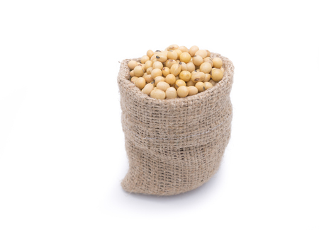 gunny bag: Soy beans in gunny bag isolated on white background