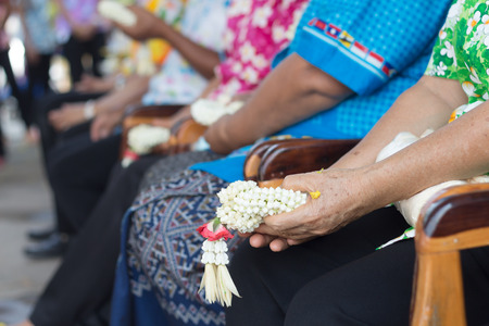 blessings: Thai people celebrate Songkran new year water festival 13 April by giving garlands to their seniors and asked for blessings