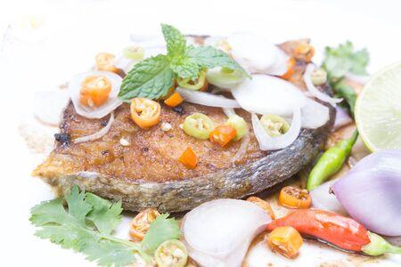 cerebrate: Fried King mackerel Fish with fish sauce Stock Photo