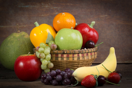 Fresh Fruit and Vegetables shot in still life concept Stock Photo