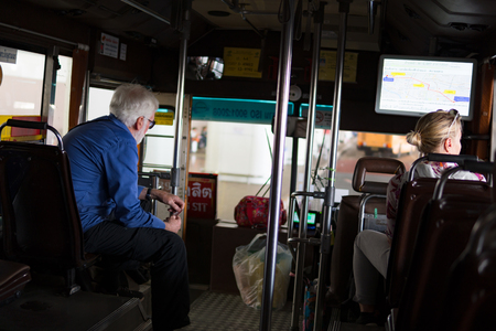 Bangkok, Thailand -November 23, 2017: Tourists are bus passengers Bangkok