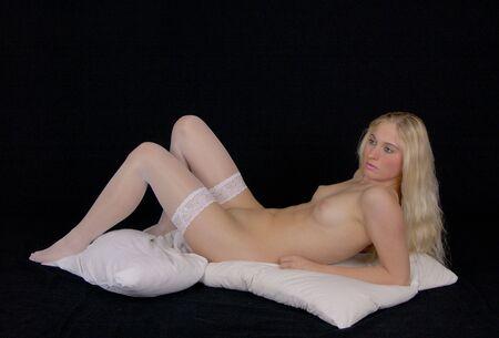 naked women body: Manu is posing naked in studio Stock Photo