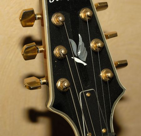 rythm: details from a Archtop F Hole Acoustic Guitar