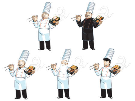 asian old man: Asian Chef Illustration